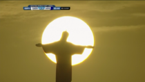 Jesus trying to stop Gokus Spirit Bomb from destroying the World Cup Stadium