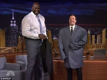 Jimmy Fallon wearing Shaqs jacket
