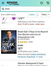 Joel Osteen shows up in top results of dildo search in Amazon Haha I see you Amazon and I support you and your hilarity