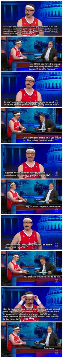 John Hodgman explains to Jon Stewart why he wants to but the LA Clippers