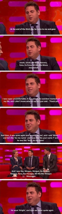 Jonah Hill talks about his first encounter with Morgan Freeman