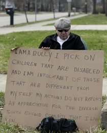 Judge ordered man to hold this sign after he bullied disabled kids