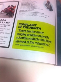 Just a complaint from the current issue of Popular Science Yeah Popular Science