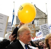 Just a Scottish protestor applying balloon static to Donald Trumps hairpiece