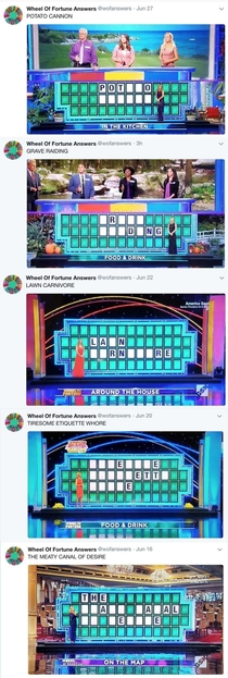 Just discovered the Wheel of Fortune Answers twitter feed