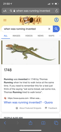 Just found out running was invented in  when Thomas Running tried walking twice I hope you share my sense of humour