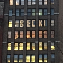 Kanye West is performing outside my friends office tonight in NYC They made him a welcome sign