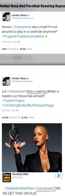 Kayne getting roasted by Amber Rose and PornHub