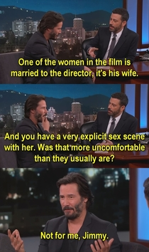 Keanu Reeves on his sex scene with the directors wife
