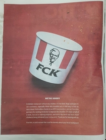KFCs apology in the Sun newspaper today