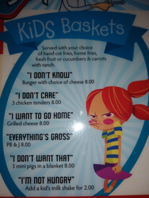 Kids menu at Luckys Coffee Shop