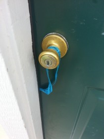 Lanyard caught on the handle and my keys swung inside the door as I closed it Stupidest way to lock yourself out