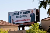 Las Vegas liquor store under hot water for this billboard