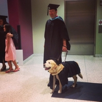 Last night my university gave an honorary masters degree to the service dog who sat through every one of his owners classes He dressed appropriately for the ceremony