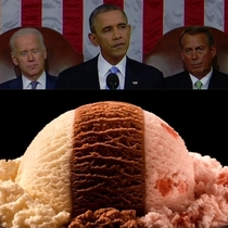 Last nights state of the union address looked like neopolitan ice-cream