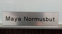 Last week my company was ordering name plates for the new employees I told our office administrator that we have a new girl named Maya and it would be easier if I just spelt her last name This came in Friday