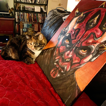 Left a painting on the couch and came back to see that my mood cat found her spirit creature