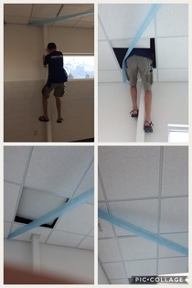 Looking through old pics and found these  The principal was looking for him so he climbed up in the ceiling and hid the rest of the day