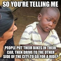 Lots of people with expensive bicycles in this city