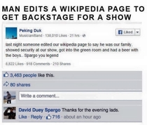 Man alters Wikipedia page of band to get backstage