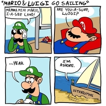 Mario and lugi make it to a shore