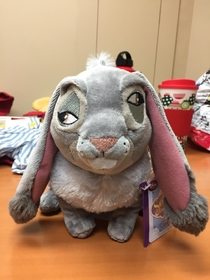 Maybe funny and creepy or just a drunk looking stuffed animal One of the eyes on this Sofia the first Clover rabbit sewn on upside down