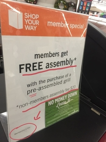 Members get free assembly