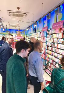 Men staring into the dark abyss of valentines day cards