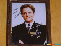 Michael J Foxs autographed headshot at my favorite local restaurant