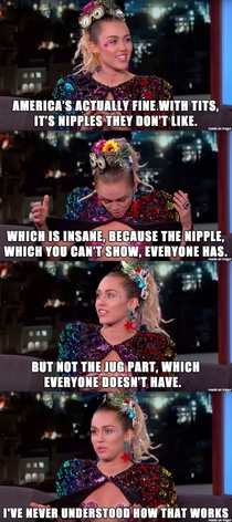 Miley Cyrus on gender nipple inequality