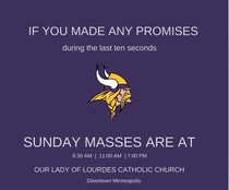 Minneapolis Catholic Church posted this in response to last nights last second touch down