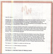 Miracle Whip sent this letter to Stephen Colbert after he made fun of their mayo on his show Well played Miracle Whip Well played