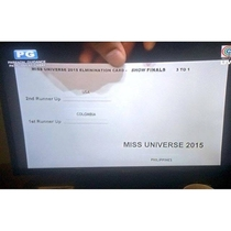 Miss Universe  results card that Steve Harvey cant read