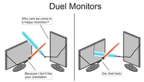 Misspelled dual monitors chatting to my uncle last night Today he sent me this