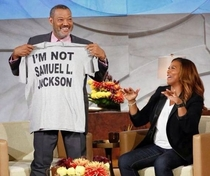 Morgan Freeman showing Oprah hes not Samuel L Jackson