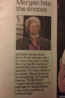 Morgan Freeman tests the new Google Eyelids