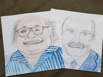 Most kids draw dragons and animals and battles and shit my little cousin draws Danny Devito and Dr Phil