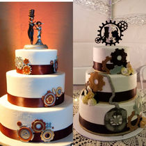 My beautiful steampunk wedding cake I showed the Baker the picture on the left and asked her to add a clock and told her she could put her own imagination into the design as well I chose the cake topper It came out magnificent
