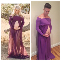 My best friend bought a pregnancy photo shoot gown online turns out its a bit big and poorly made It fits my pregnant husband though lmfao