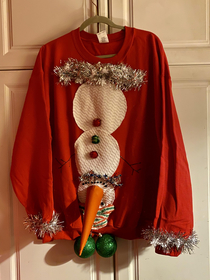 My bonus son needed an Ugly Xmas Sweater for a party tonight Fingers crossed he likes it I cant stop laughing