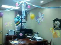 My boss jokingly claimed to be a Brony so we decided to go all out for his birthday