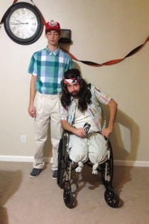 My brother and his buddy as Forrest and Lieutenant Dan