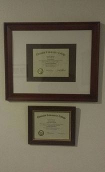 My brother and I graduated from the same school with the same degree and my mom decided to frame our diplomas I was never the favorite son