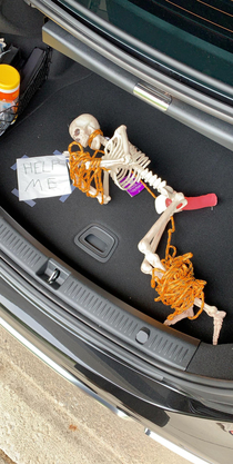 My brother and I have been hiding a decorative skeleton on each other for months Today he went for a run and left his car here So naturally