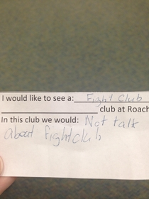 My brother is a middle school teacher and asked his students what clubs they would like to see at their school