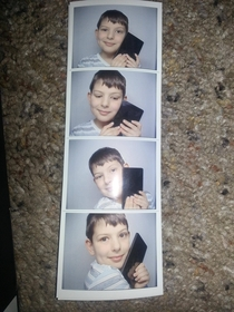 My brother won a Kindle Fire He then found a photo booth