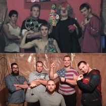 My brothers and I recreated a photo we took  years ago We had our own BASEMENT WRESTLING league