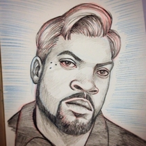 MY BUDDY DREW THIS PICTURE OF ICE CUBE WITH CONAN OBRIANS HAIR AND CONAN JUST TWEETED IT