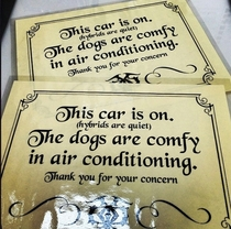 My buddy had these made after someone broke into his Prius to save his dogs