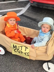 My buddy has twin daughters Says this is the proudest moment of his life Happy Halloween from Harry and Lloyd